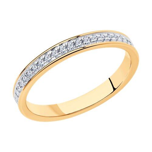 Кольцо из золочёного серебра с фианитами (93010750) - фото