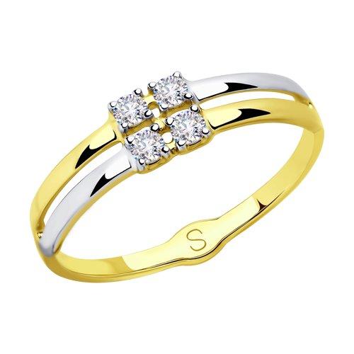 Кольцо из желтого золота со Swarovski Zirconia (81010418-2) - фото