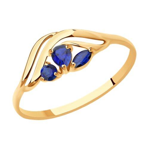 Кольцо из золота с корундами сапфировыми (синт.) (714616) - фото