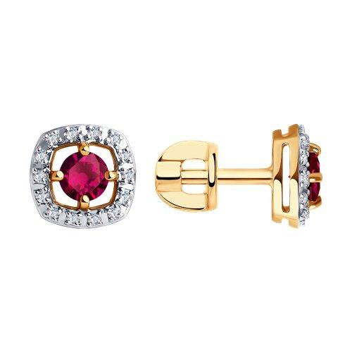 Серьги из золота с бриллиантами и рубинами (4020413) - фото