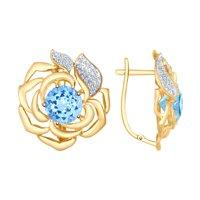 Серьги из золота с голубыми ситаллами и фианитами