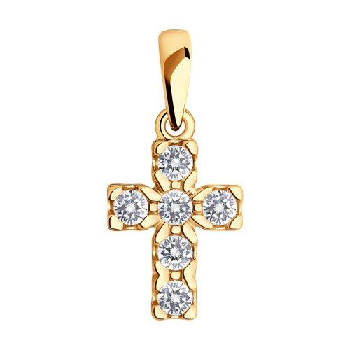Крест из золота со Swarovski Zirconia
