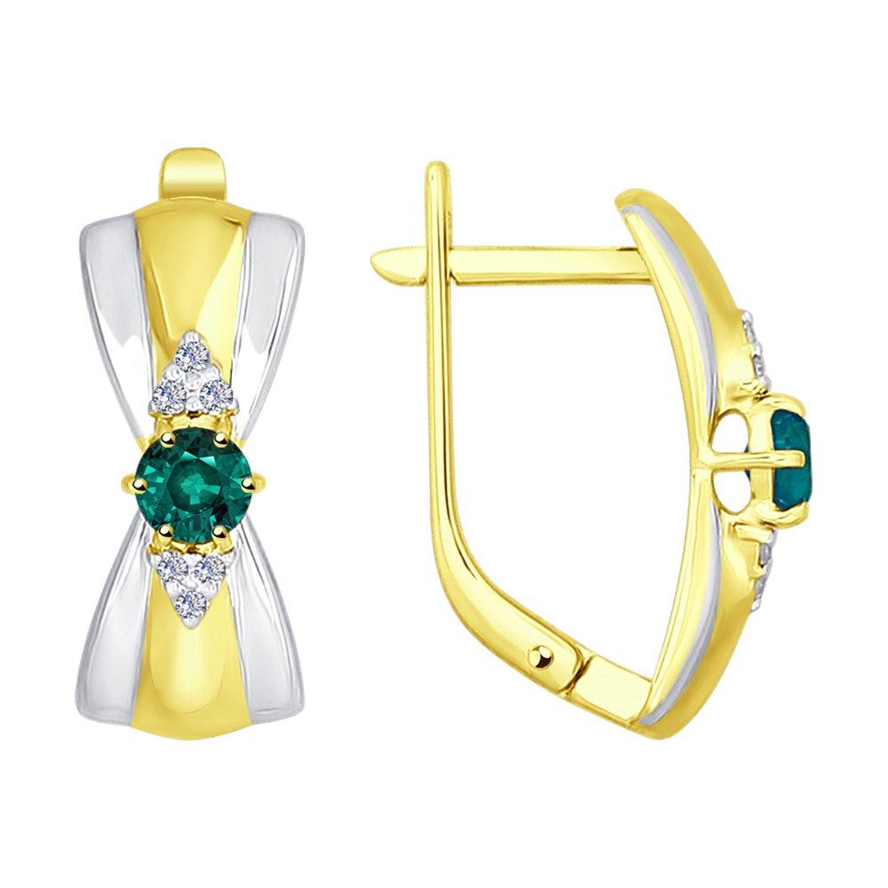 Серьги SOKOLOV из желтого золота с бриллиантами и изумрудами цена 2017