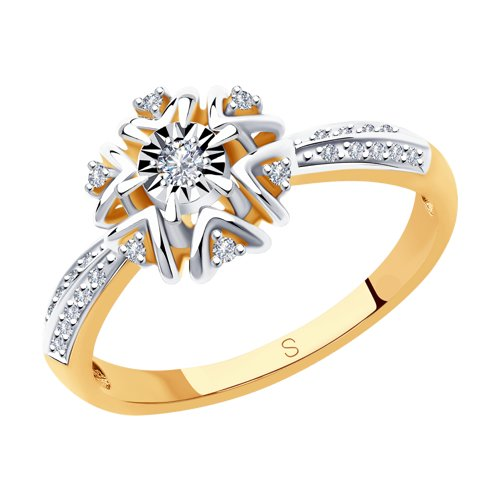 Кольцо из комбинированного золота с бриллиантами (1011997) - фото