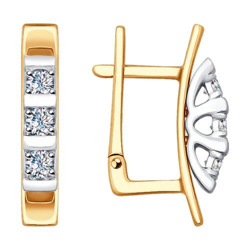 Серьги из комбинированного золота с бриллиантами (1021239) - фото