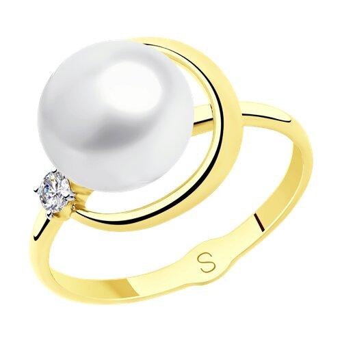 Кольцо из желтого золота с жемчугом и  (791123-2) - фото