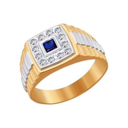 Фото - Печатка SOKOLOV из комбинированного золота с синим фианитом кольцо sokolov из комбинированного золота с синим фианитом