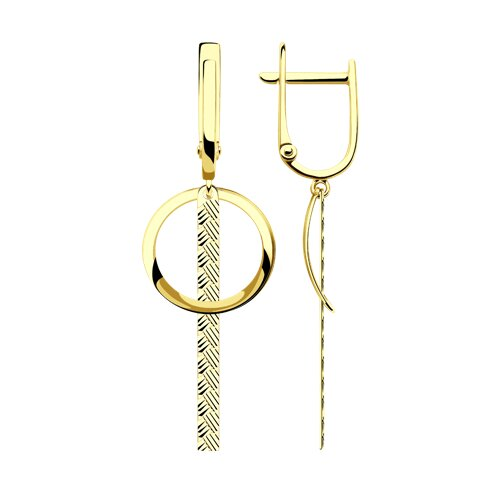 Серьги из желтого золота с алмазной гранью (028552-2) - фото