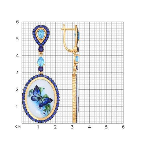 Длинные серьги с финифтью «Бабочка» (782005) - фото №2
