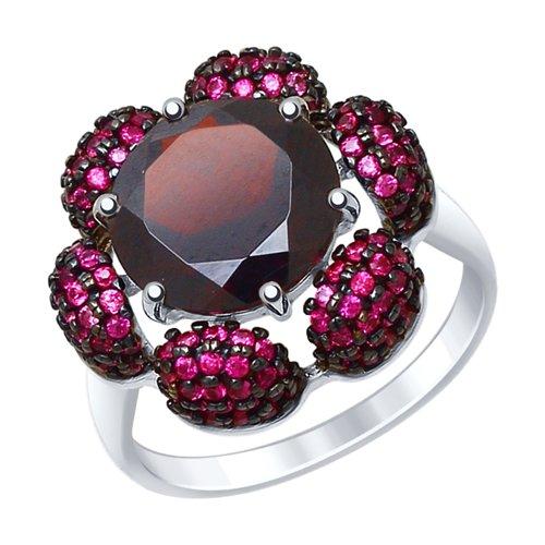 Кольцо из серебра с гранатом и красными фианитами