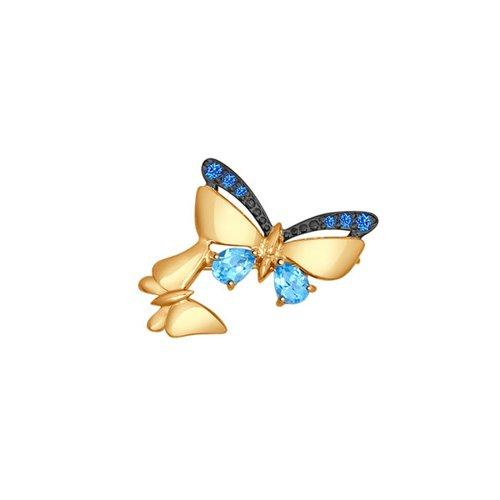 Брошь из золота с голубыми топазами и синими фианитами