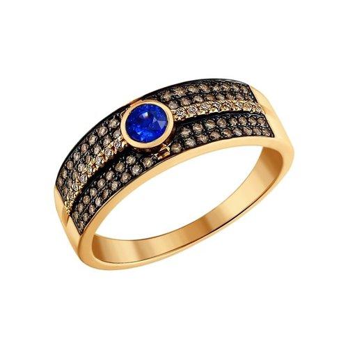 Кольцо из золота с бесцветными и коньячными бриллиантами и сапфиром
