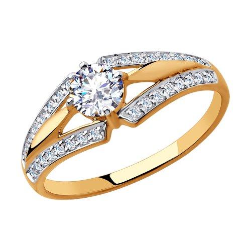 Кольцо из золота с фианитами (018280) - фото