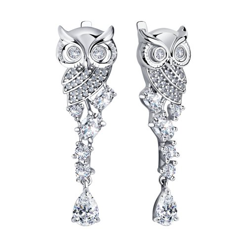 Длинные серьги из серебра в виде совы (94023845) - фото №2