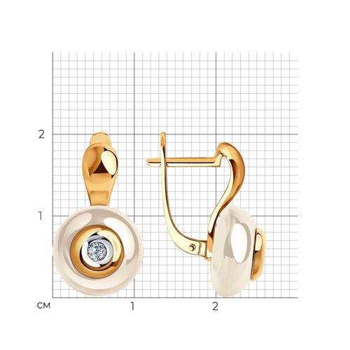 Серьги из золота с бриллиантами и жёлтыми керамическими вставками 6025088 SOKOLOV фото 2