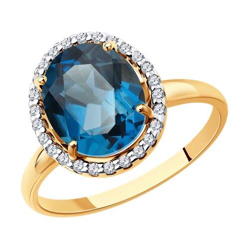 Кольцо из золота с синим топазом и фианитами (714968) - фото