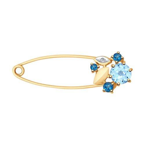 Брошь из золота с голубым и синими топазами и фианитом (740189) - фото