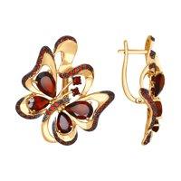 Серьги «Бабочка» из золота с гранатами и красными фианитами