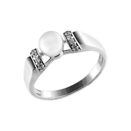 Фото - Серебряное кольцо с фианитами и жемчугом SOKOLOV серебряное кольцо с сердечками sokolov