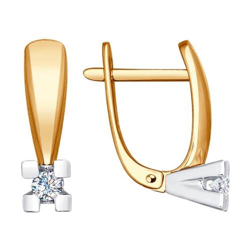 Серьги из комбинированного золота с бриллиантами (1021167) - фото