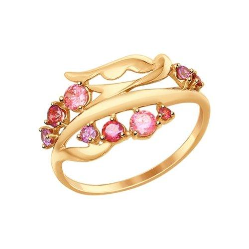 Кольцо из золота с розовыми и сиреневыми фианитами