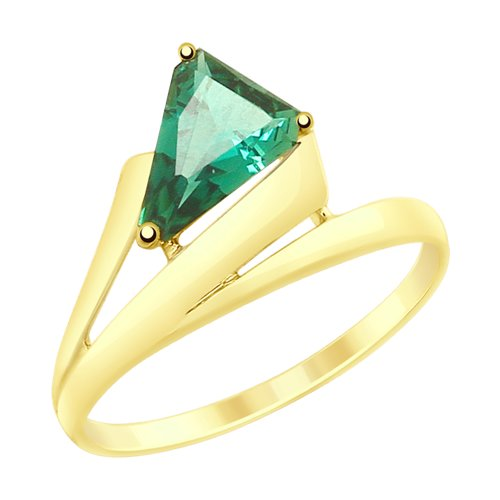 Кольцо из желтого золота с кварцем