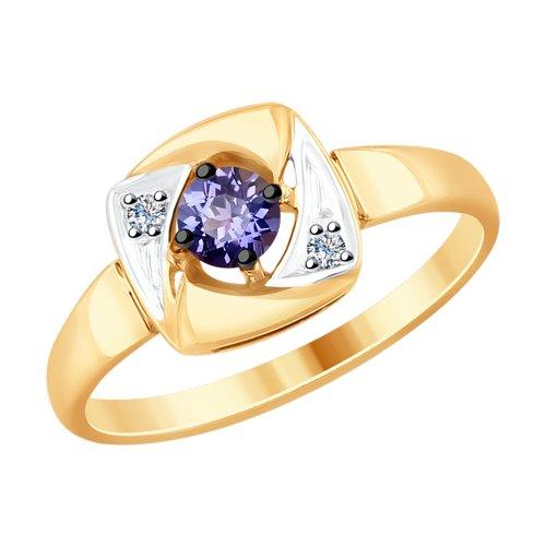 Кольцо из золота с бриллиантами и танзанитом (6014114) - фото