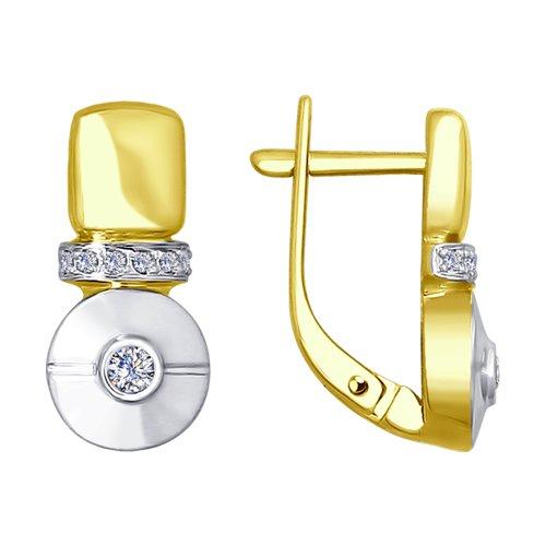 Серьги из желтого золота с бриллиантами (1021159-2) - фото