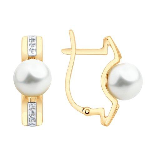 Серьги из золота с жемчугом и фианитами 792141 SOKOLOV фото
