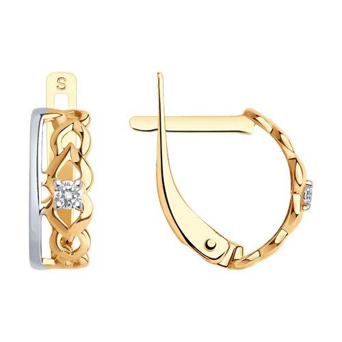 Серьги из золота с фианитами (027250) - фото