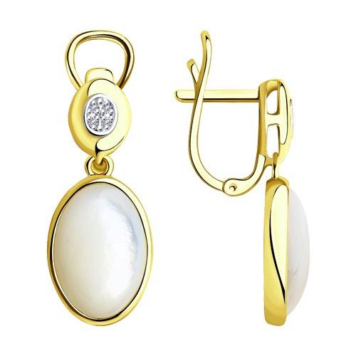 Серьги из желтого золота с бриллиантами и перламутром 1021410-2 SOKOLOV фото
