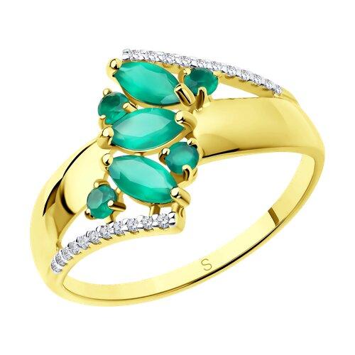 Кольцо из желтого золота с агатами и фианитами