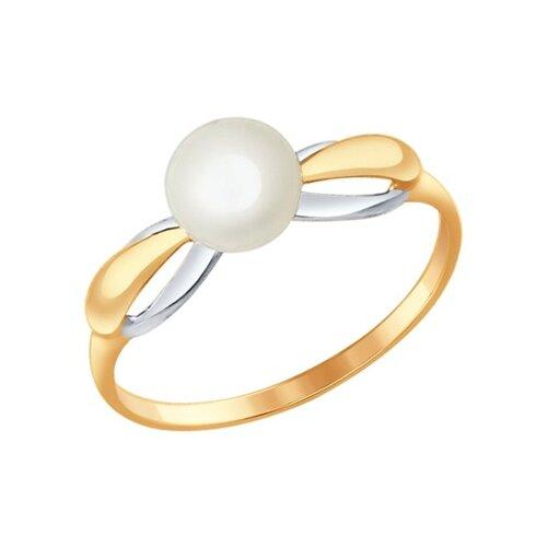 Кольцо золотое с жемчугом, 585 проба 791031 sokolov фото