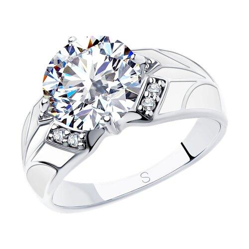 Кольцо из серебра с эмалью и фианитами (94012926) - фото