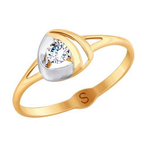 Кольцо из золота с фианитом (017946) - фото
