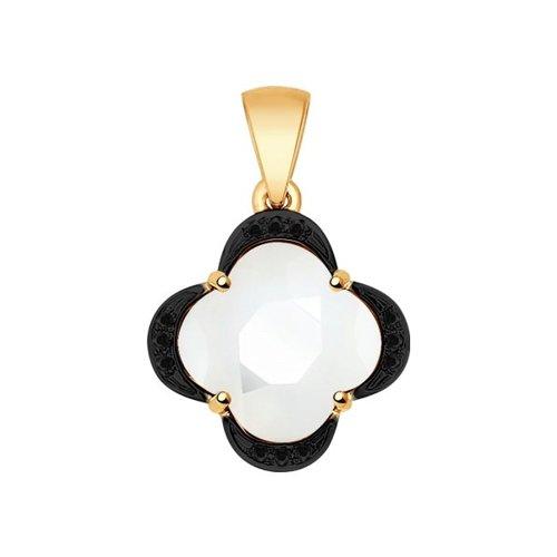 Подвеска из золота с чёрными бриллиантами и керамической вставкой