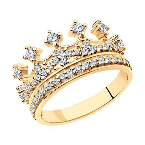 Серебряное позолоченное кольцо в форме короны SOKOLOV