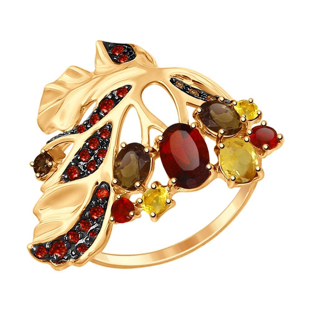 Кольцо «Листок» с миксом камней SOKOLOV кольцо листок с миксом камней sokolov