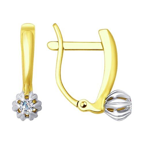 Серьги из желтого золота с бриллиантами (1020915-2) - фото