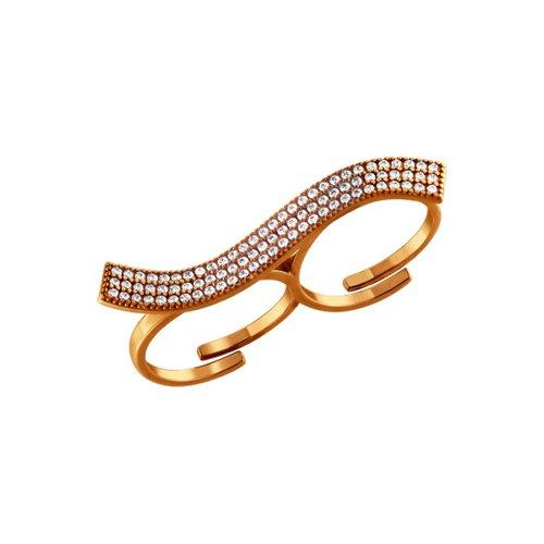 Позолоченное кольцо на два пальца с россыпью фианитов