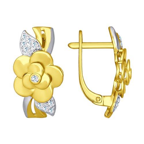Серьги из желтого золота с фианитами (027133-2) - фото