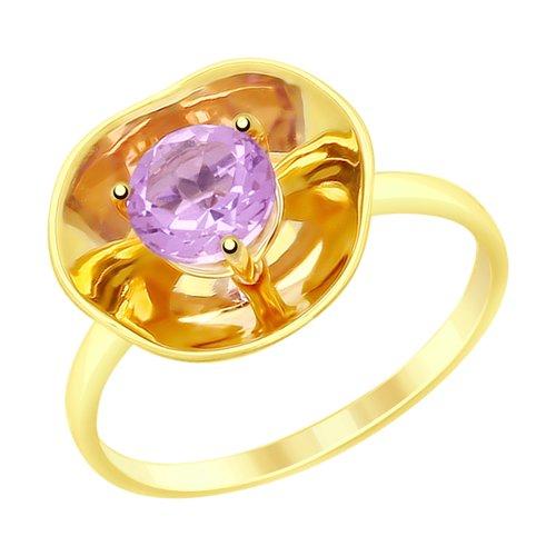 Кольцо из желтого золота с аметистом