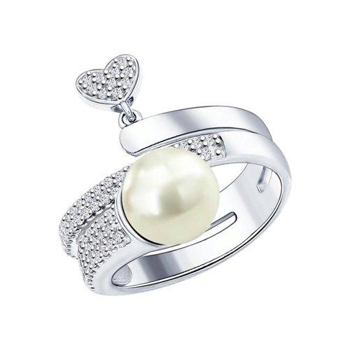 Кольцо из серебра с  и фианитами