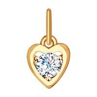 Подвеска в форме сердца из золота с фианитом
