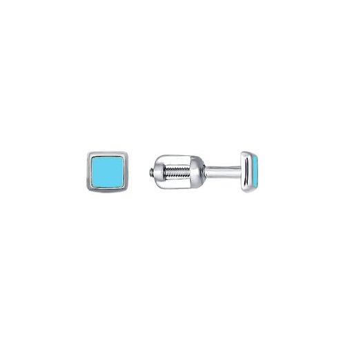 цена на Квадратные детские серьги-пусеты из серебра с голубой эмалью