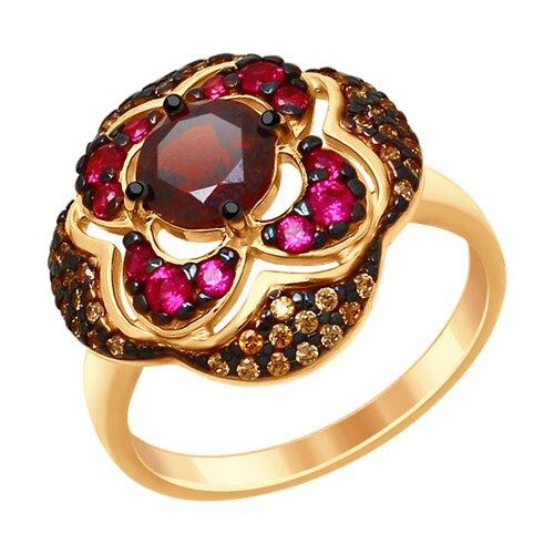Кольцо из золочёного серебра с гранатом и жёлтыми и красными фианитами (92011431) - фото
