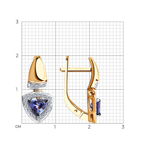 Серьги из золота с бриллиантами и танзанитами 6024122 SOKOLOV фото 2