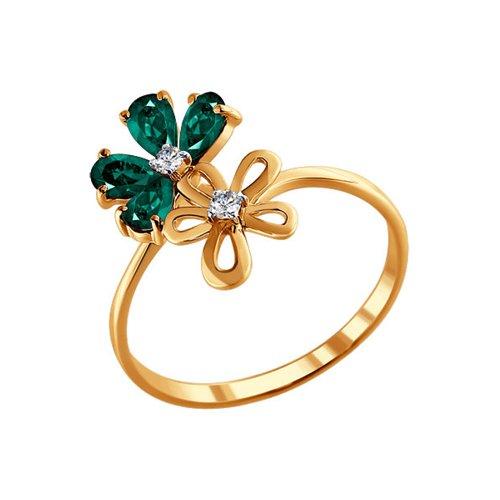 Кольцо из золота с бриллиантами и изумрудами