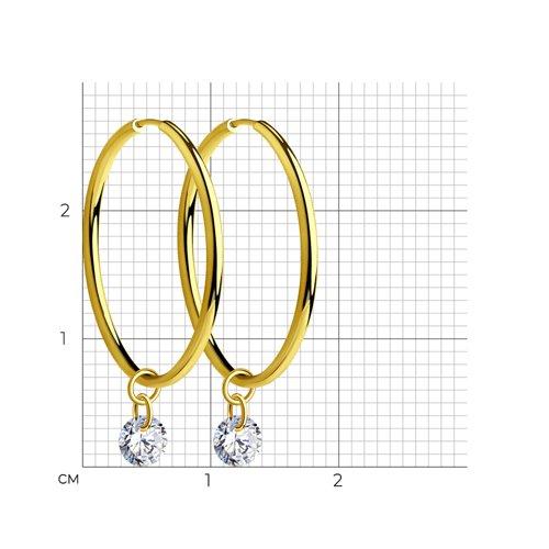 Серьги из желтого золота с фианитами 028586-2 SOKOLOV фото 2