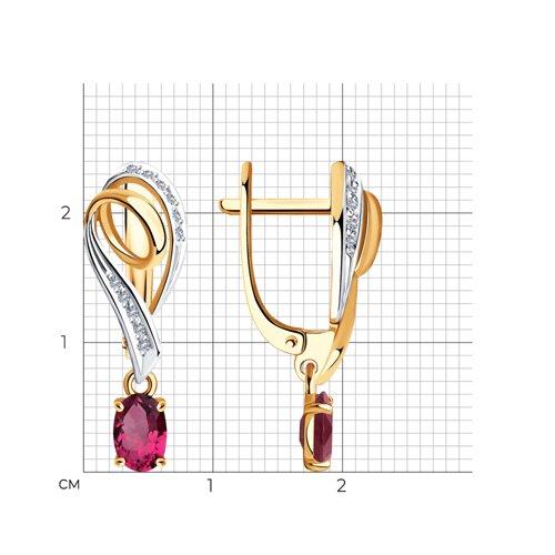 Серьги из золота с бриллиантами и рубинами 4020403 SOKOLOV фото 2